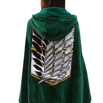 Cool Attack on Titan Cosplay Cartoon Anime  Hooded Wrap Cloak Green no  Scouting Legion Shawel Blanket Fleece AT_90_11