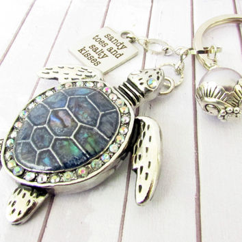 Sandy Toes/Salty Kisses Sea Turtle Keychain