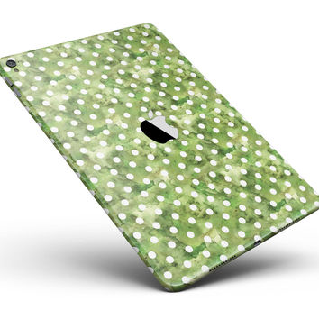 """White Polka Dots over Green Watercolor Full Body Skin for the iPad Pro (12.9"""" or 9.7"""" available)"""