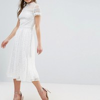 Frock and Frill High Neck Lace Midi Dress with Bead Detail at asos.com