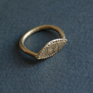 Golden watchful eye ring by datter on Etsy