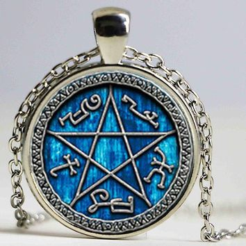 1pair Supernatural Devils Trap necklace jewelry glass Cabochon necklace HZ1