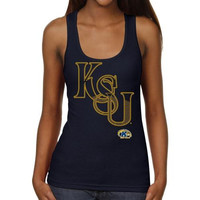 Kent State Golden Flashes Ladies Cipher Script Junior's Ribbed Tank Top - Navy Blue