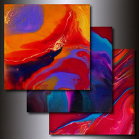 Print Set: 3 Multi Colored 12 x 12 Abstract Giclees