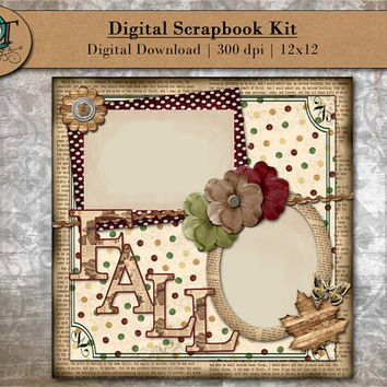 Digital Scrapbook Kit for online scrapbooking - Fall Ver1 - Mauve, Moss Green, Newspaper, Vintage - 12x12 - 300 dpi - Digital Download