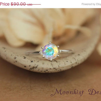 ON SALE Opalescent Topaz Tiffany Solitaire in Sterling Silver - Engagement Ring, Promise Ring, or Birthstone Ring