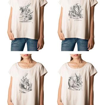 Women's Alice in Wonderland Printed cotton T-shirt  Tee WTS_01