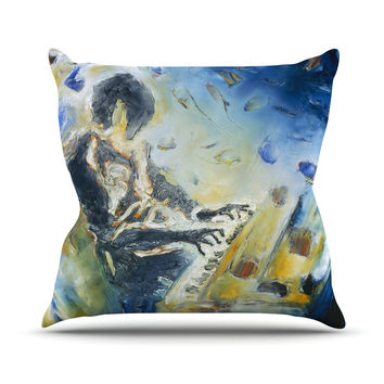 "Josh Serafin ""Riders on the Storm"" Piano Player Throw Pillow"