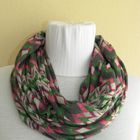 Infinity Scarf,Loop Scarf,Circle Scarf, Multicolor flowering cotton lycra fabric Scarf,Cowl Scarf,Nomad Cowl.All Shades of Green,