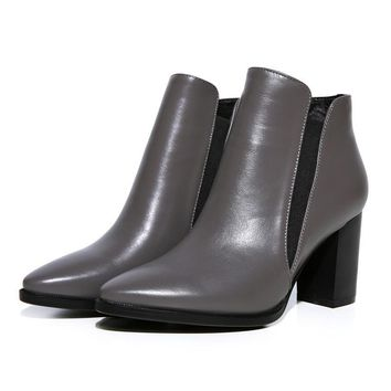 European party style genuine leather sexy pointed toe ankle boots elastic fashion high with thick heel women's riding boots