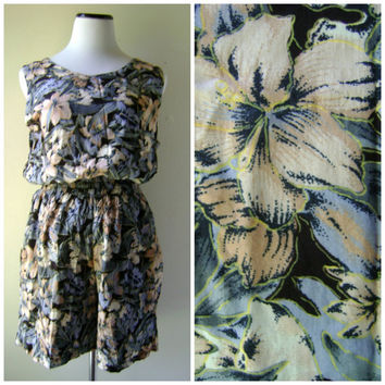 80s Hibiscus Print Two Piece Matching Shorts Set Vintage Rayon Tank Top Tropical Floral Pattern Womens Size XL Extra Large 1980s High Waist