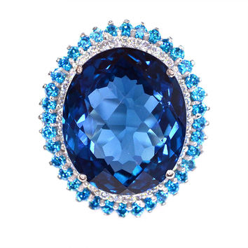 Vintage 27.3CT Oval Cut Royal Blue Topaz Halo White Sapphire Ring
