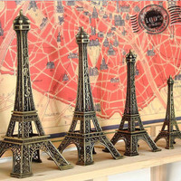 Paris Eiffel Tower Antiqued Imitation Model Bronze Tone Vintage Alloy Decoration