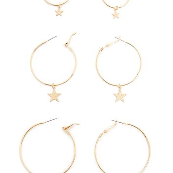 Star Charm Hoop Earring Set