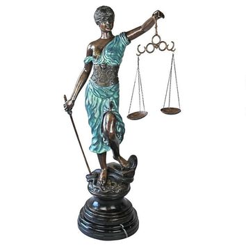 Giant Themis Blind Lady Goddess of Justice Lawyer Bronze Statue 56H