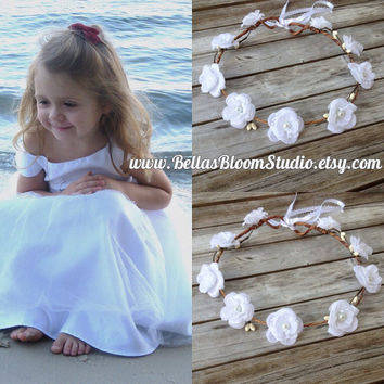 White Flower crown White Flowergirl Hair wreath First communion Flower Garland Wedding Headpiece Floral Crown Headband Woodland Baptism etsy