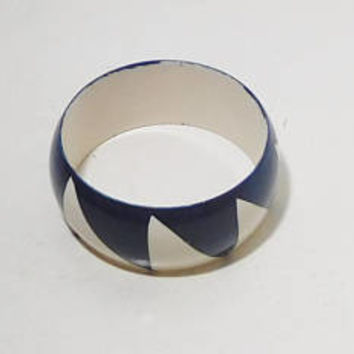 Wide Bangle Bracelet, Navy Blue, White, Blue White, Extra Wide, Vintage Costume Jewelry