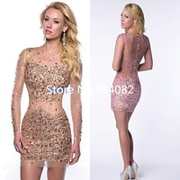 Luxury Crystal Mini Crystal Elegant Cocktail Dresses Chic Cocktail Dress robe den cocktail vestidos de coctel Short Prom Gwon