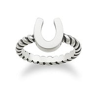 James Avery Horseshoe Twisted Wire Ring - Silver 9