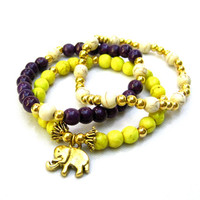 Elephant Bracelet Childs Bracelet Charm Bracelet Toddler Bracelets Little Girls Birthday Gift Yellow Purple Cream Ready To Ship Gift Idea