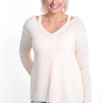 Oatmeal Blush V-Cut Sweater