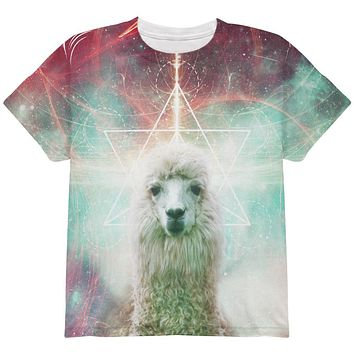 Galaxy Llama of Namaste Tetrahedron All Over Youth T Shirt