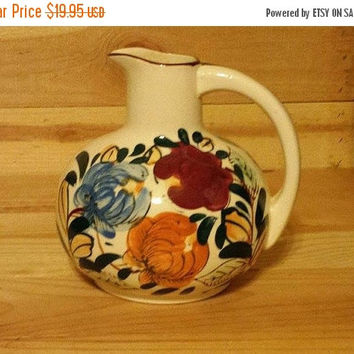 Autumn Sales Event Vintage NASCO Pottery Hand Painted Wine Pitcher