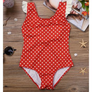High Quality Brand Summer Red Kids Girls One-piece Sleeveless Polka Dots Swimsuit Swimwear for Children's Clothing SZ 2-8Y