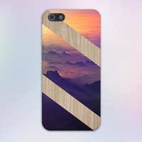 Mountain Sunset x Diagonal Striped Wood Design Case for iPhone 6 6 Plus iPhone 5 5s 5c iPhone 4 4s Samsung Galaxy s5 s4 & s3 and Note 4 3 2