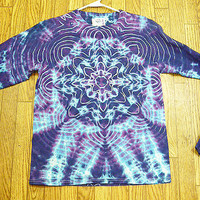 Tie dye Size MEDIUM  Blue Purple Star Tie dye LongSleeve Tie Dye Shirt   NEW    hippie  unisex
