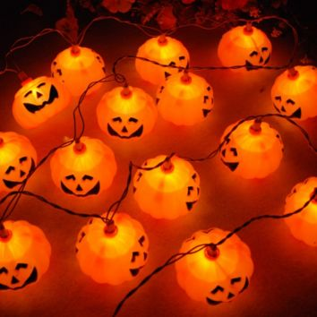 Creative Battery Powered 3D Jack-O-Lantern Pumpkin 20 LED String Lights  Halloween Gifts