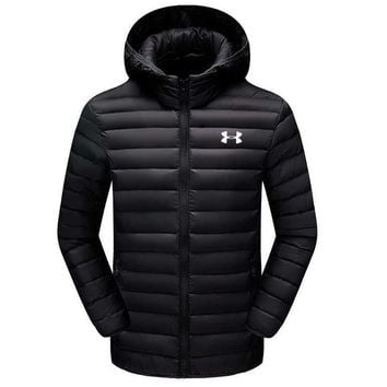 Under Armour Fashion Winter Warm Men Cardigan Jacket Coat Windbreaker Hoodie Black