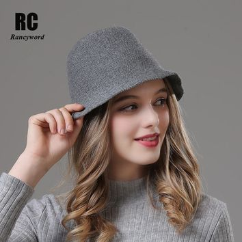[Rancyword] Elegant Women Hats Knitted Wool Winter Fashion Bucket Hat Brim for For Girls Party Hat Beanies 2018 New RC2036