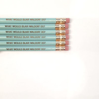 what would blair waldorf do 6 engraved pencils in light baby blue.