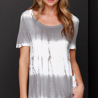 Tee You Tonight Ivory and Grey Tie-Dye Top