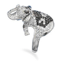 Sterling Silver Black and White CZ Elephant Ring