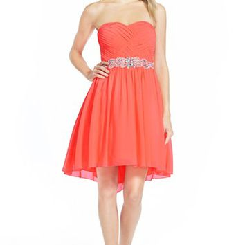 Junior Women's Way-In Strapless Embellished Strapless Skater Dress,