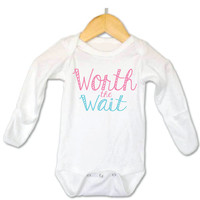 Worth the Wait Baby Onesuit, Cute Baby Onesuit, Funny Baby Onesuit, Baby Girl Onesuit, Worth the Wait Baby Oneisie