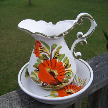 Vintage Italian Pottery Water Pitcher and Basin Set...Cottage Chic...Made in Italy...Mid Century...Italian..Pottery..My Vintage Home