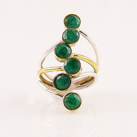 Emerald - Multi Stone - Two Tone Sterling Silver Ring - keja jewelry