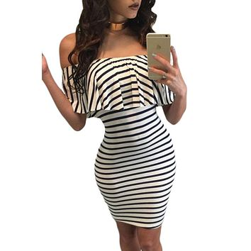 Black White Striped Off-shoulder Bodycon Dress