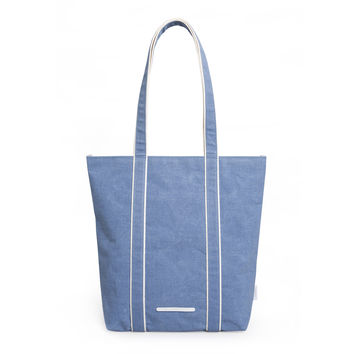 'Shoulder Tote 205' Raw Waxed Blue