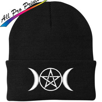 Wiccan Triple Goddess Embroidered Beanie Moon Pentacle Metal Band Music One Size Fits Most