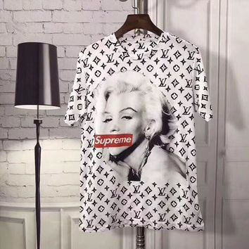 """Louis Vutitton x Supreme"" Women Fashion Casual Marilyn Monroe Portrait Letter Logo Print Pattern Short Sleeve T-shirt Top Tee"