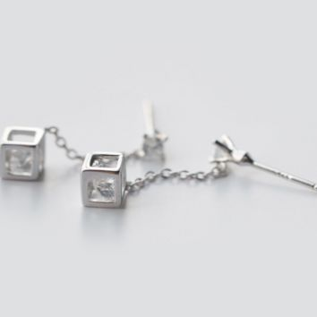 Love Rubik's cube inlaid CZ 925 Silver Pendant Earrings,a perfect gift
