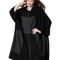 Women's Jacket Coat Casual Loose Fitting Plus Size Black