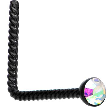 Aurora 2mm Gem Inlay Black So Twisted L Shaped Nose Ring