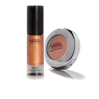 Alexis Vogel Cheek to Cheek Kit - Includes Powder Blush in Copper Rose Shimmer and Shimmer Liquid in Golden Bronze - Professional Quality - Created by Celebrity Makeup Artist