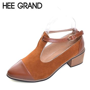 HEE GRAND Pointed Toe Pumps British Style Med Heels Patchwork T-Strap Oxfords Shoes Woman Casual Vintage Pump Shoes XWD2469