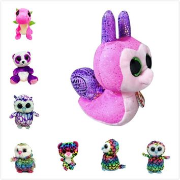 "Ty Beanie Boos Big Eyes 6"" Plush Snail with Sparkling Sequins Animal Toys Panda Colorful Owl Kids Christmas Girlfriend Gifts"